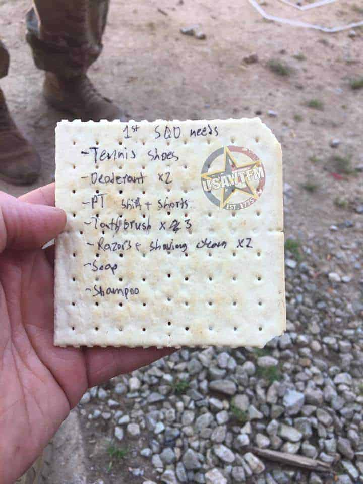 MRE cracker with notes written on it.