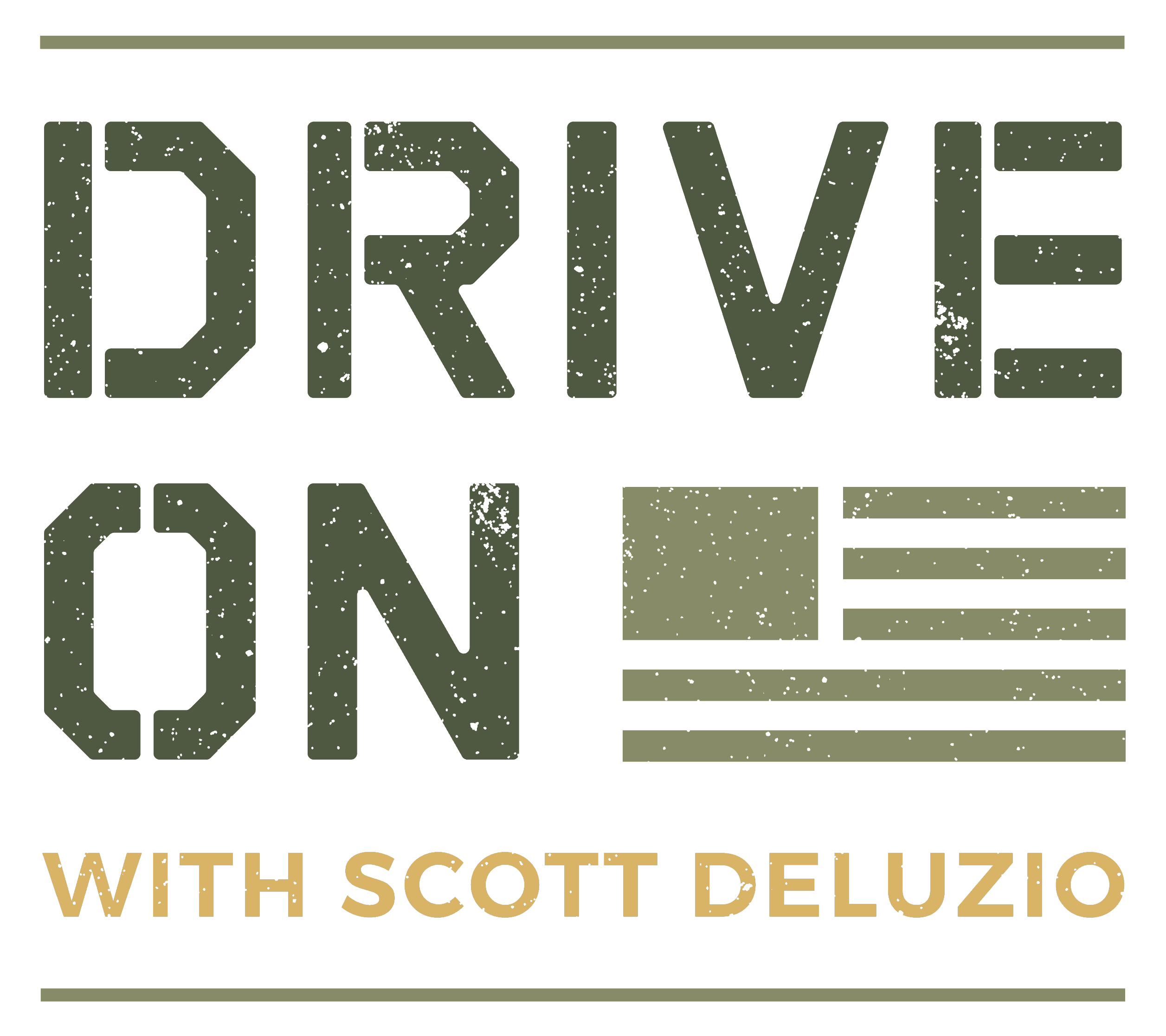 Drive On Podcast Primary Colored Textured Logo