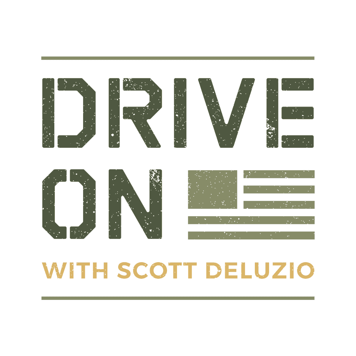 Drive On Podcast LinkedIn Post Sized Logo Colored Text White Background