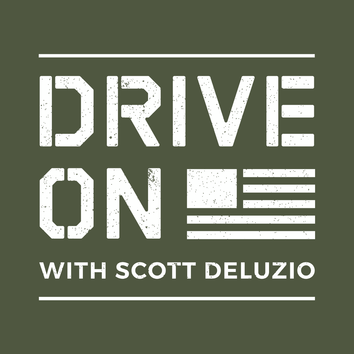 Drive On Podcast LinkedIn Post Sized Logo White Text Green Background